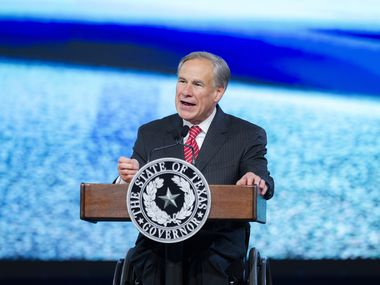 Texas Gov. Greg Abbott speaks during the Asian American Hotel Owners Association convention in Dallas, Wednesday, August 4, 2021. (Brandon Wade/Special Contributor)